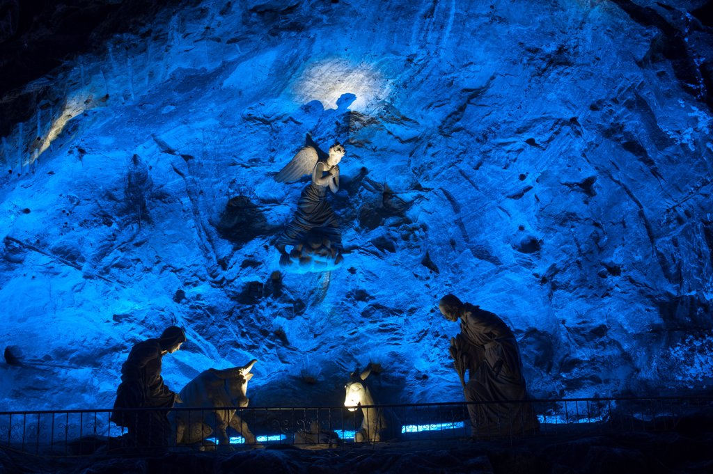 Stock Photo: 4168-13551 Holy Family Sculpture At The Salt Cathedral (Salt Mine) In Zipaquira Near Bogota, Colombia