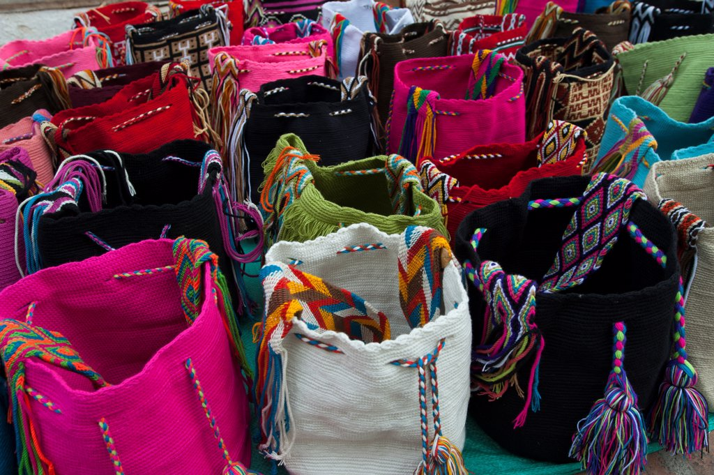 Colorful Woven Wayuu Bags Made By Indigenous People For Sale In The Old Town Of Santa Marta, Colombia : Stock Photo