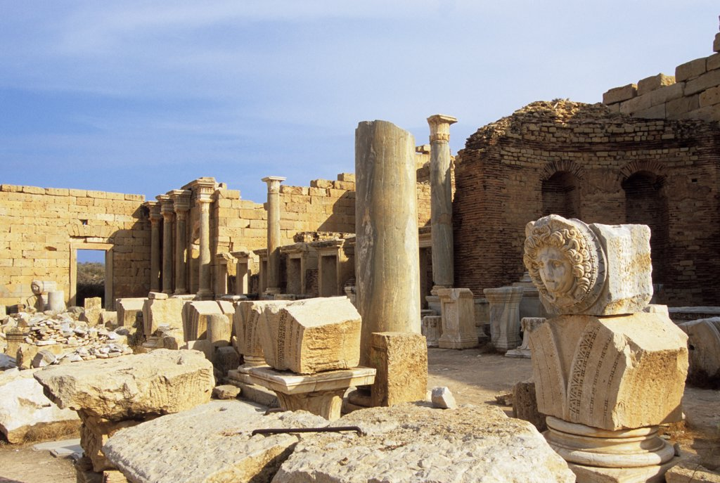Stock Photo: 4168-14010 Libya, Near Tripoli, Leptis Magna, Severan Forum, Medusa Head