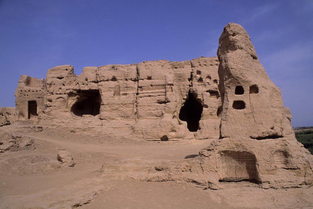 China, Xinjiang Province, Turfan, Jiaohe City, Destroyed By Mongols In 13Th Century : Stock Photo