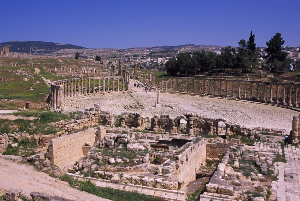 Stock Photo: 4168-14206 Jordan, Jerash, Ancient Roman City, View Of Forum From South Theatre