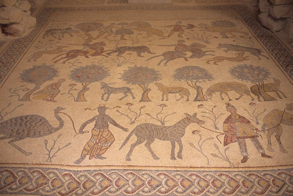 Stock Photo: 4168-14219 Jordan, Mount Nebo, Church, Byzantine Mosaics (Church On Site Where Moses May Have Died)