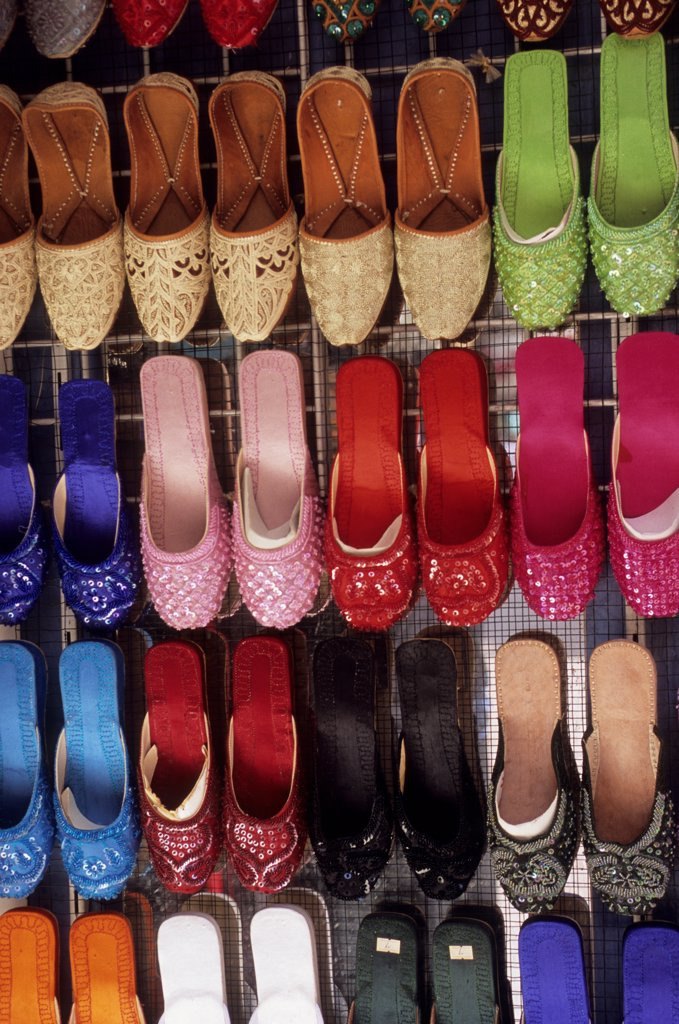 Stock Photo: 4168-14304 United Arab Emirates, Dubai, Souk, Street Scene, Color Shoes