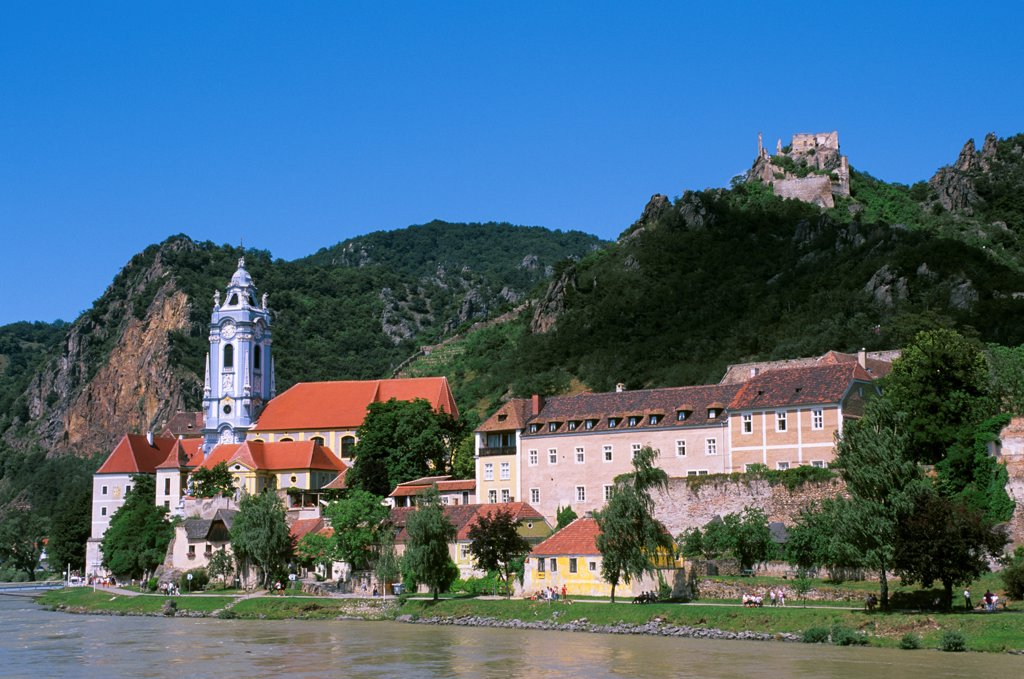 Austria, Danube River, Wachau Valley, Durnstein, View Of Church And Castle Kuenringerburg : Stock Photo