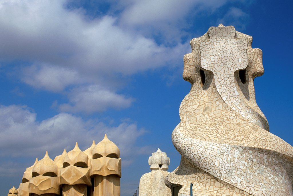 Spain, Barcelona, Mila House, 'La Pedrera', Roof, Chimney And Ventilation Shafts : Stock Photo