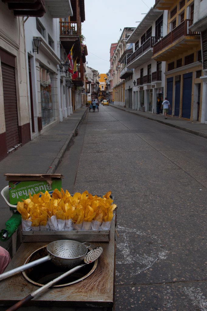 Stock Photo: 4168-14689 Fried Plantain Chips For Sale In The Streets Of Cartagena, Colombia