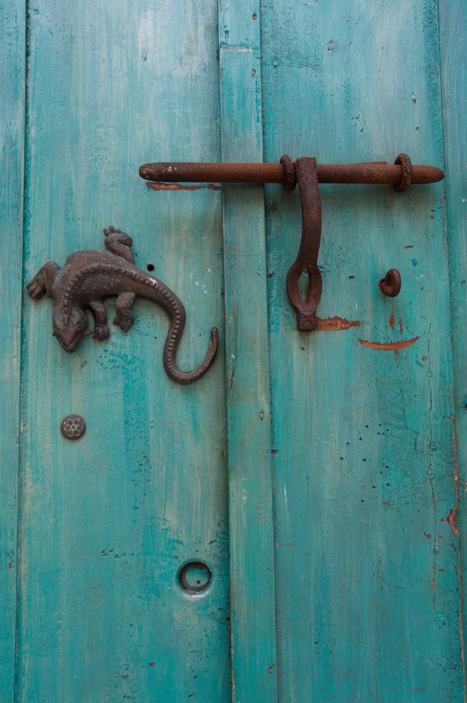 Door Knockers Of Old Colonial House In The Walled City Of Cartagena, Colombia, A Unesco World Heritage Site : Stock Photo