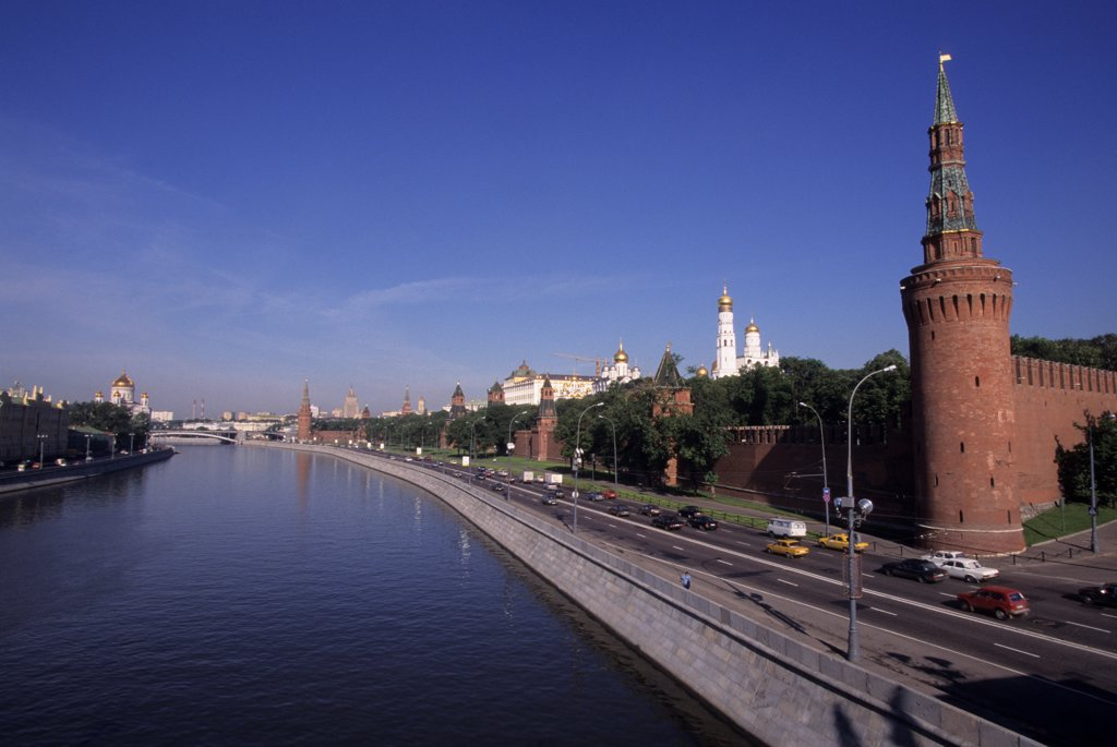 Russia, Moscow, Moskva River With Kremlin : Stock Photo