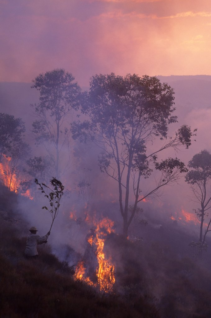 Stock Photo: 4168-14883 Madagascar, Near Mantasoa, Farmers Burning Land