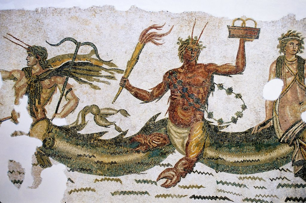 Stock Photo: 4168-15038 Tunisia, Tunis, Bardo Museum, Roman Mosaic