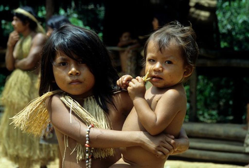 AMAZON RIVER, YAGUA INDIAN CHILDREN : Stock Photo