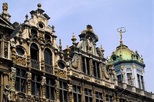 Belgium, Brussels, City Square, Detail Of Houses : Stock Photo