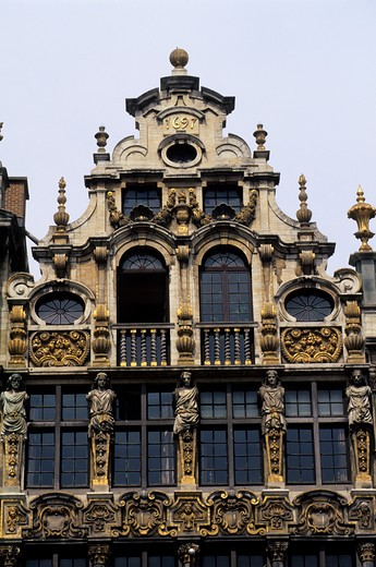 Stock Photo: 4168-2444 Belgium, Brussels, City Square, Detail Of Houses