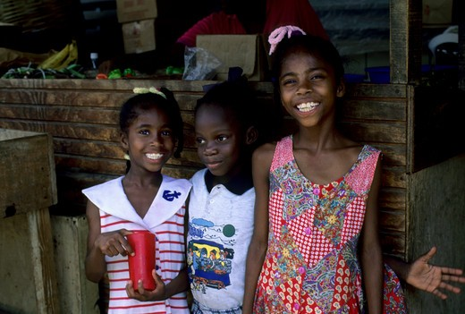 Stock Photo: 4168-2762 Tobago, Scarborough, Market Scene, Local Girls