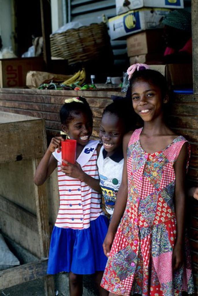Tobago, Scarborough, Market Scene, Local Girls : Stock Photo