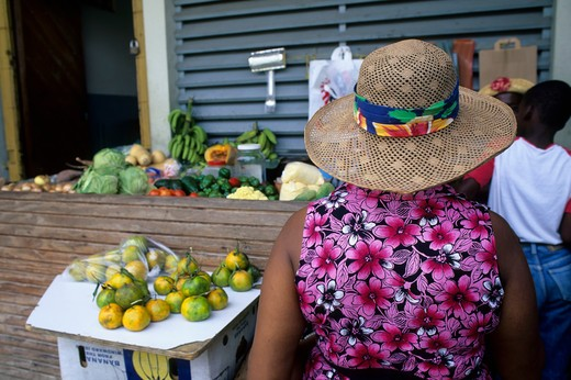 Stock Photo: 4168-2764 Tobago, Scarborough, Market Scene