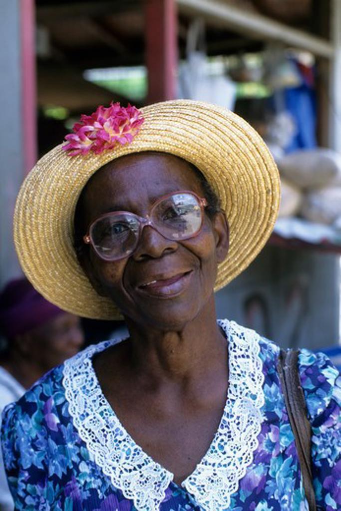 Tobago, Scarborough, Market Scene, Portrait Of Local Woman : Stock Photo