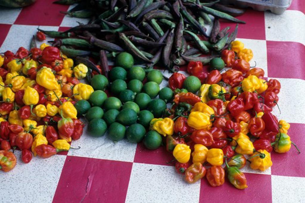 Tobago, Scarborough, Market Scene, Peppers : Stock Photo