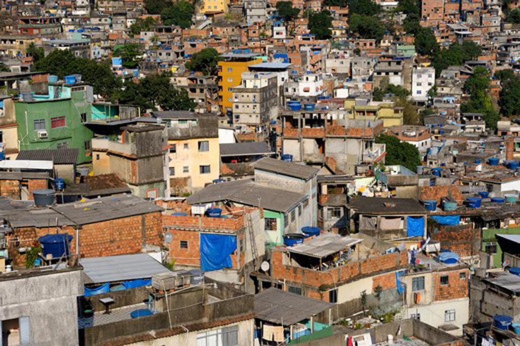 Brazil, Rio De Janeiro, Rocinha Favela, Overview Of Favela, Rooftops : Stock Photo