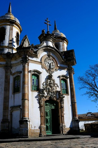 Stock Photo: 4168-2975 Brazil, Minas Gerais, Colonial Town Of Ouro Preto (Unesco World Heritage Site), Saint Francis Of Assisi Church, Baroque Architecture