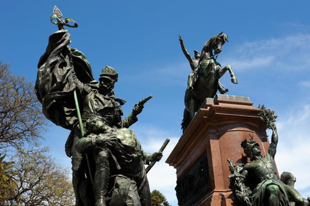 Stock Photo: 4168-3010 Argentina, Buenos Aires, Plaza San Martin With Monument To Jose De San Martin, Independence War Hero
