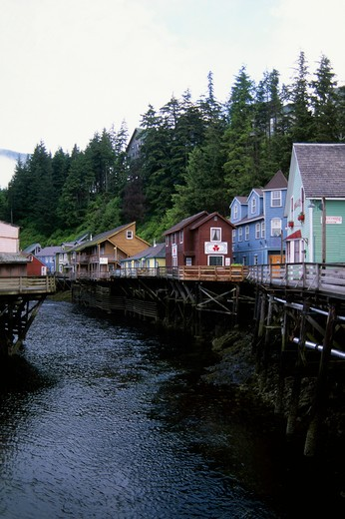 Usa, Alaska, Inside Passage, Ketchikan, Creek Street, Houses On Stilts : Stock Photo