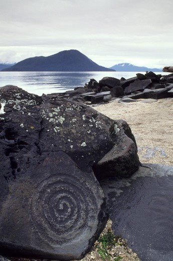 Usa, Alaska, Inside Passage, Wrangell Island, Petroglyph Beach, Spiral Petroglyphs : Stock Photo