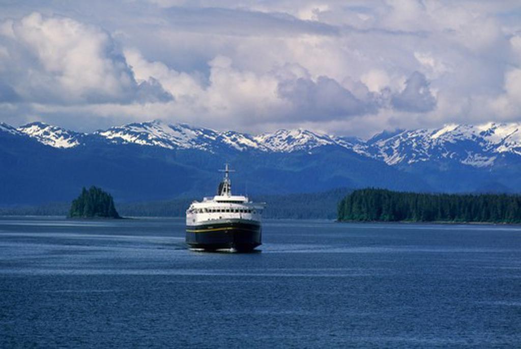 Usa, Alaska, Inside Passage, Frederick Sound, Near St. Petersburg, Alaskan State Ferry, M/V Matanuska : Stock Photo