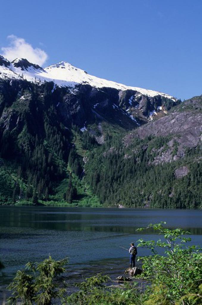 Stock Photo: 4168-3318 Usa, Alaska, Inside Passage, Baranof Island, Baranof Lake, Fisherman
