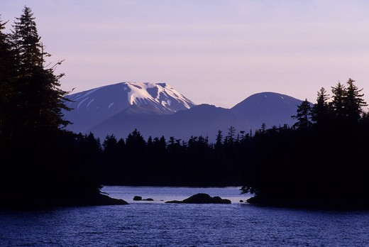 Stock Photo: 4168-3322 Usa, Alaska, Inside Passage, Near Sitka, View Of Mt. Edgecombe, Extinct Volcano