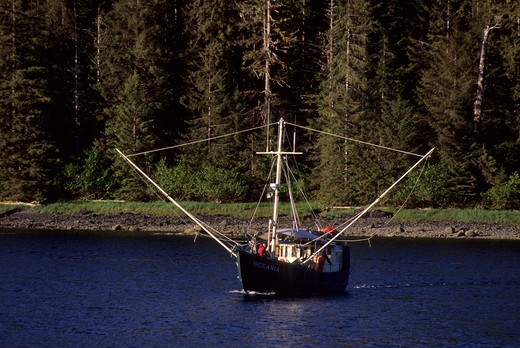 Stock Photo: 4168-3324 Usa, Alaska, Inside Passage, Near Sitka, Baranof Island, Fishing Boat