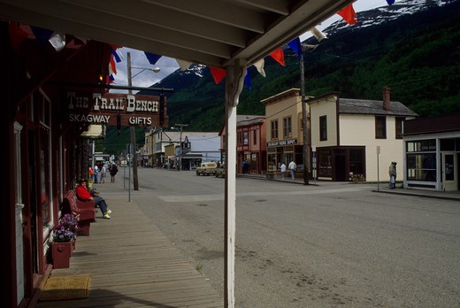 Usa, Alaska, Inside Passage, Skagway, Main Street : Stock Photo