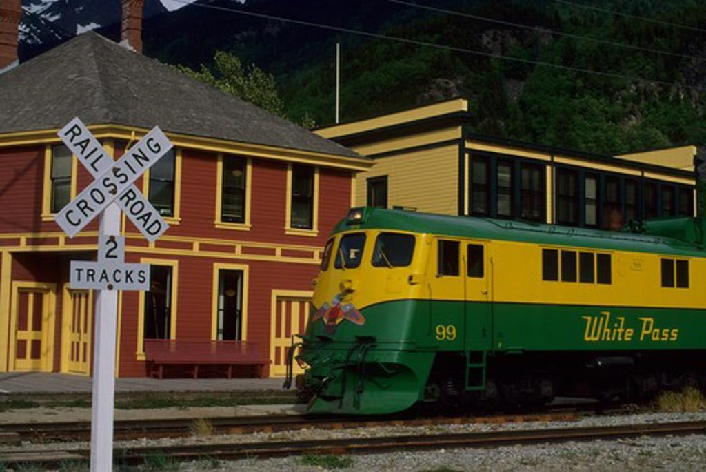 Stock Photo: 4168-3399 Usa, Alaska, Inside Passage, Skagway, White Pass-Yukon Route Railway Engine