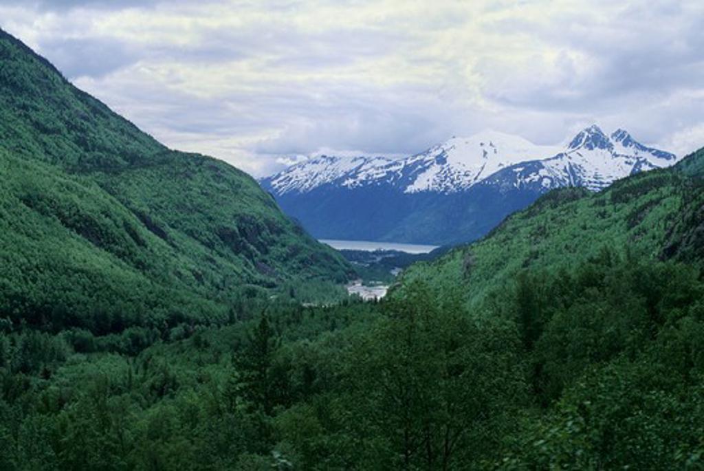 Usa, Alaska, Inside Passage, Skagway,White Pass-Yukon Route Railway, View Of Skagway : Stock Photo