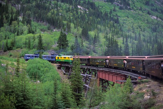 Stock Photo: 4168-3402 Usa, Alaska, Inside Passage, Skagway, White Pass-Yukon Route Railway