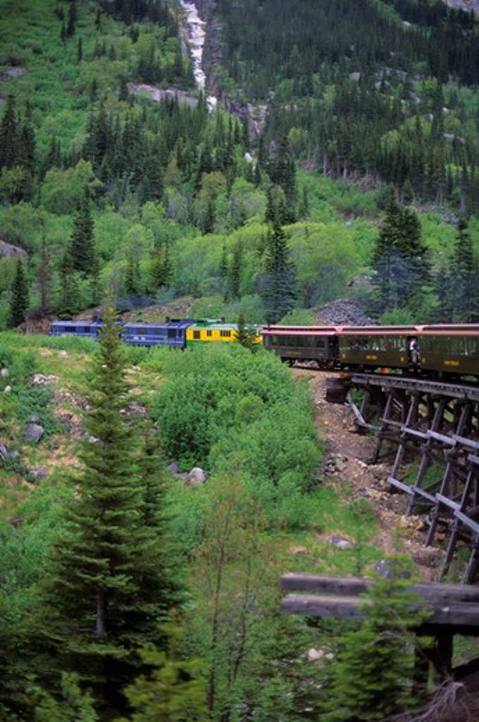 Stock Photo: 4168-3403 Usa, Alaska, Inside Passage, Skagway, White Pass-Yukon Route Railway