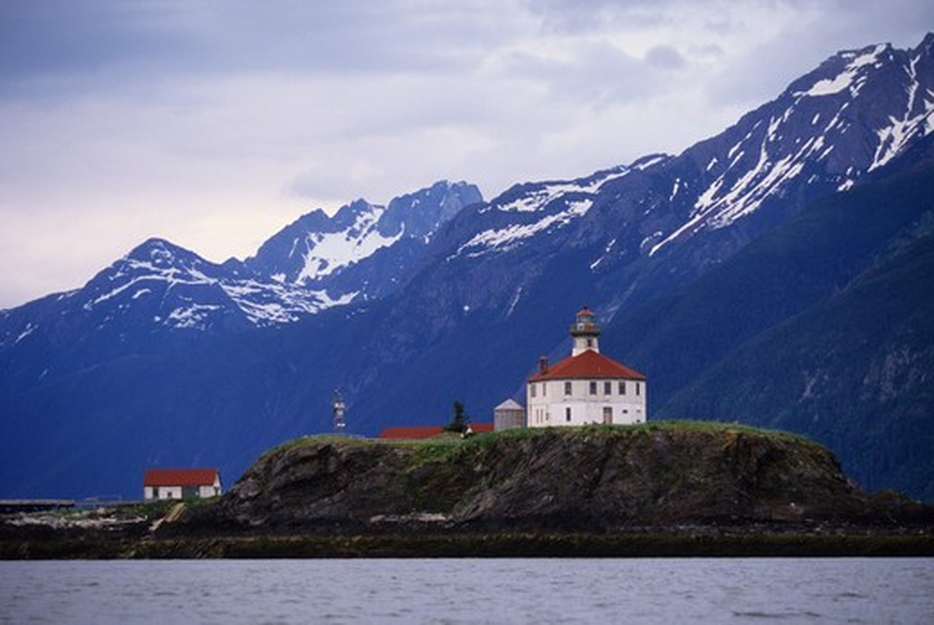 Usa, Alaska, Inside Passage, Lynn Canal, Eldred Rock Lighthouse : Stock Photo