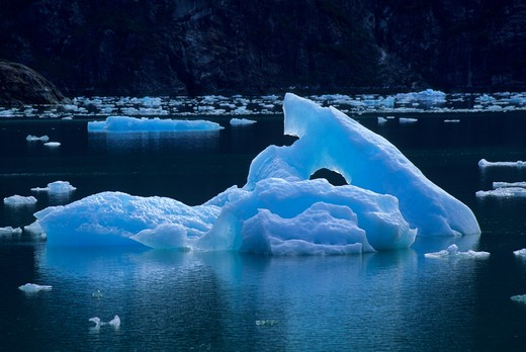 Usa, Alaska, Near Juneau, Tracy Arm, Iceberg : Stock Photo