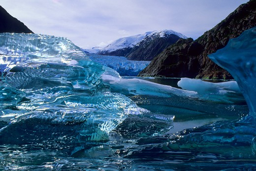 Usa, Alaska, Near Juneau, Tracy Arm, Iceberg : Stock Photo