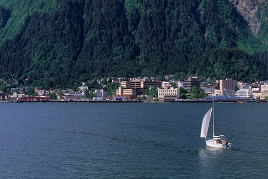 Usa, Alaska, View Of Juneau, Sailboat : Stock Photo