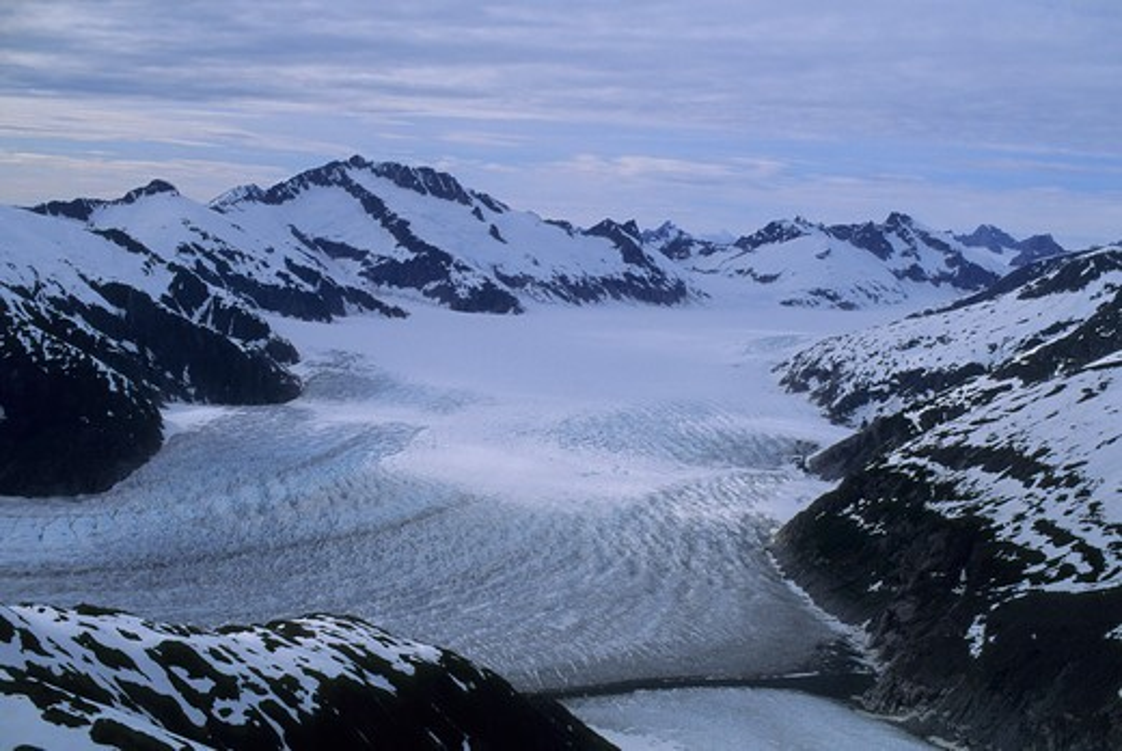 Usa, Alaska, Near Juneau, Aerial View Of Mendenhall Glacier : Stock Photo