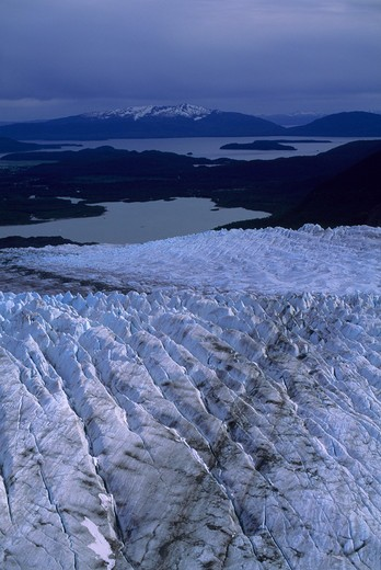 Usa, Alaska, Near Juneau, Aerial View Of Mendenhall Glacier, Crevasses : Stock Photo