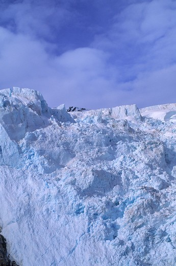 Stock Photo: 4168-3452 Usa, Alaska, Near Juneau, Aerial View Of Mendenhall Glacier, Ice Breaking Off At Cliff (Icefall)