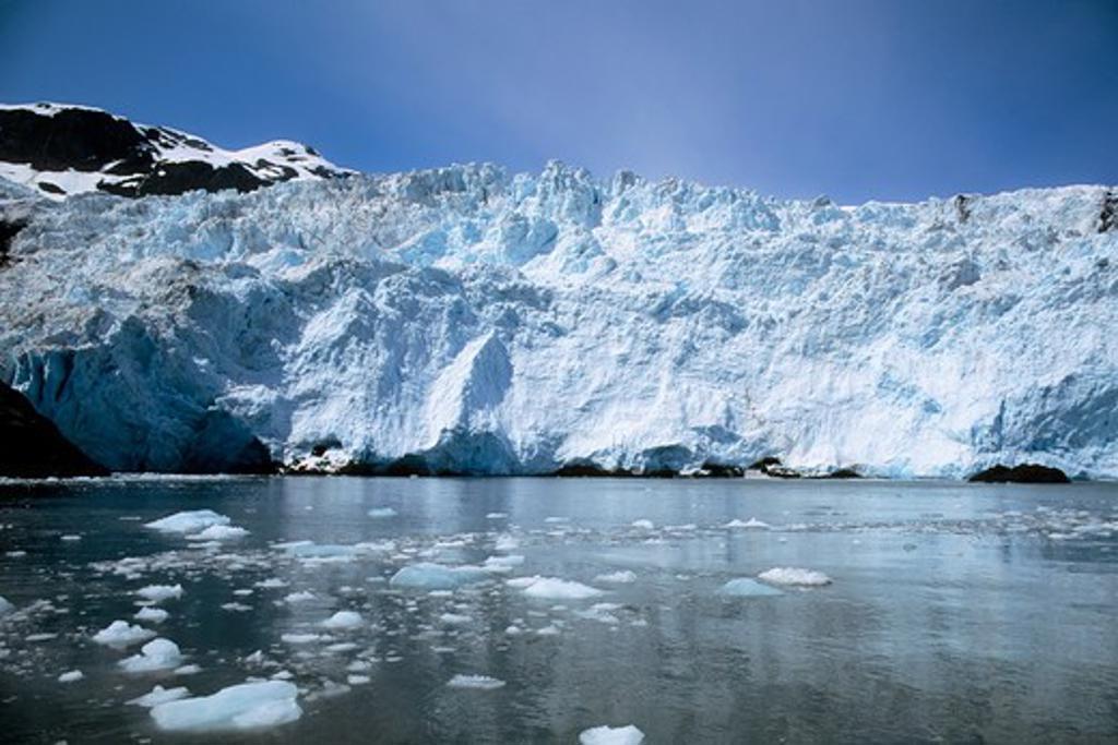 Usa, Alaska, Near Seward, Kenai Fjords Np, View Of Holgate Glacier : Stock Photo