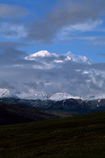 Stock Photo: 4168-3772 Usa, Alaska, Denali National Park, Stoney Hill Overlook, Mt. Mckinley (Denali) Engulfed In Clouds