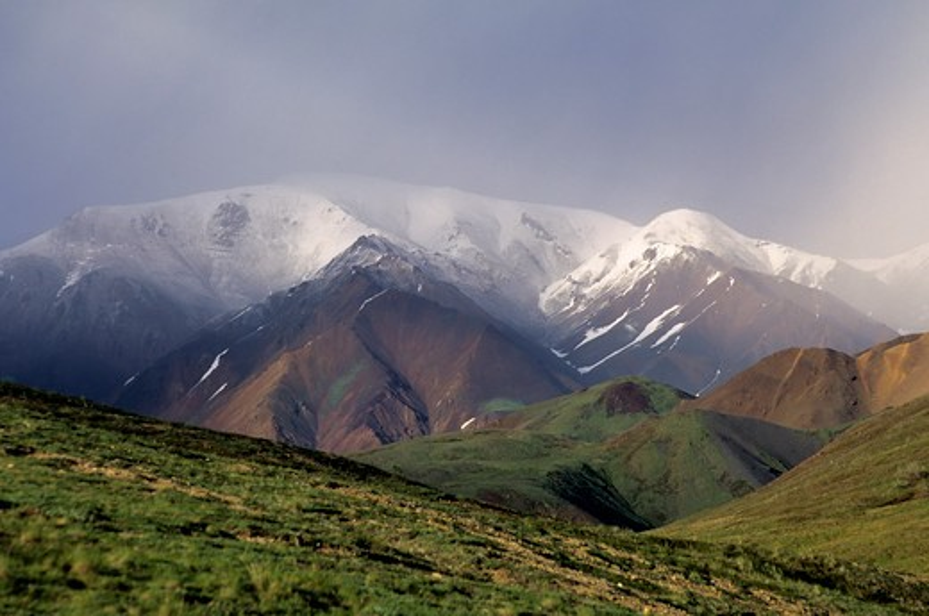 Stock Photo: 4168-3774 Usa, Alaska, Denali National Park, Stoney Hill Overlook, View Towards Mt. Pendleton