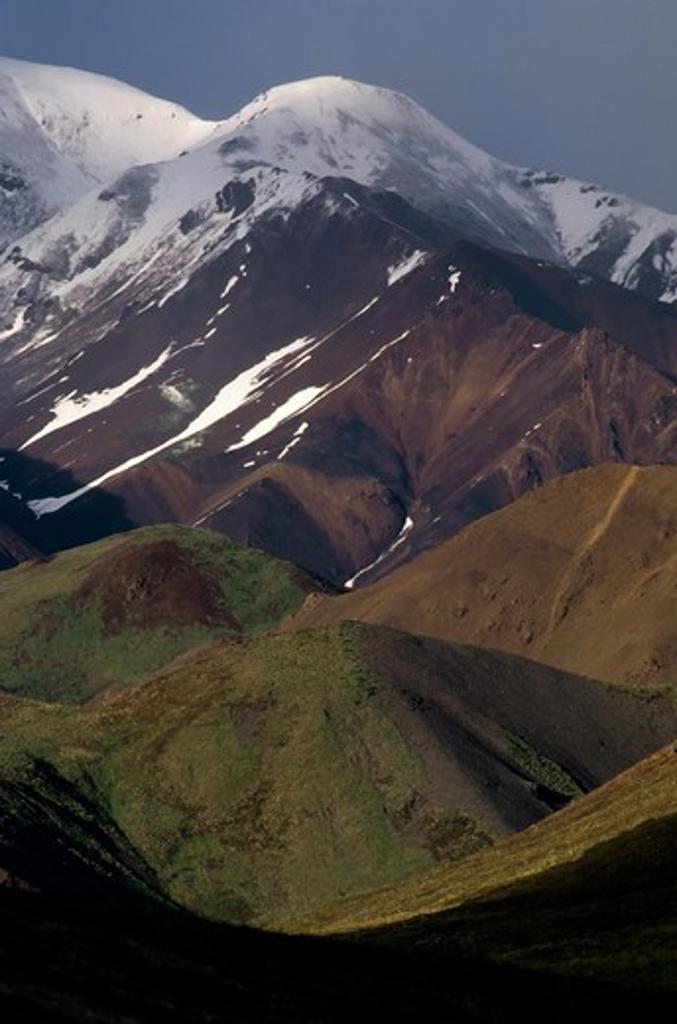 Stock Photo: 4168-3775 Usa, Alaska, Denali National Park, Stoney Hill Overlook, Alaska Range, Evening Light