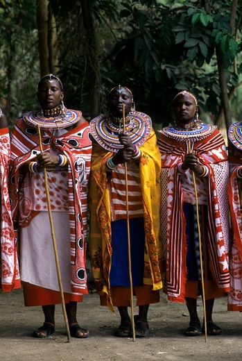 Stock Photo: 4168-4008 Kenya, Amboseli, Masai Dancers, Women