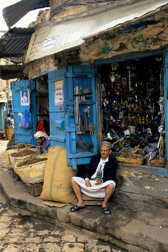 Stock Photo: 4168-4059 Yemen, Sana'A, Old Town, Souk (Market), Local Store With Storekeeper