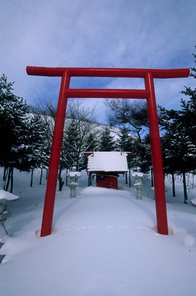 Japan, Hokkaido Island, Shiretoko Peninsula, Near Rausu, Small Shinto Shrine : Stock Photo